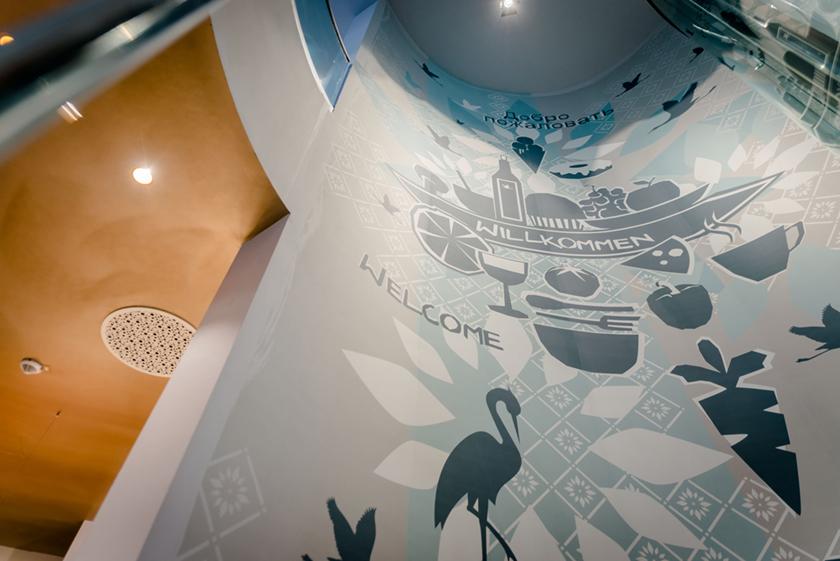 Visuelle Kommunikation Markthalle Cafe Prag